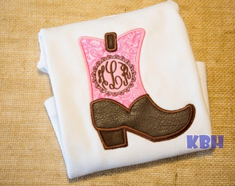 Embroidered Monogram Cowgirl Boot Rodeo Shirt