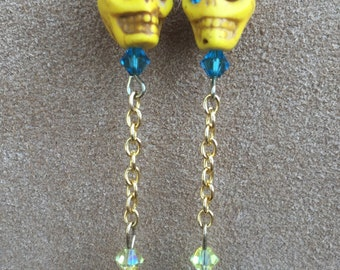 Witchy Lemonade Sugar Skull Earrings All Hallows' Eve Day of the Dead