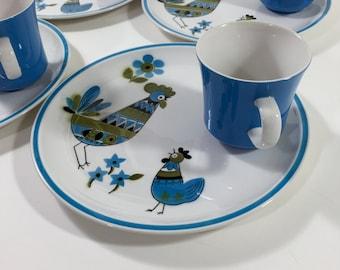 4 Snack Sets Cera Stone Blue Chicken Jonas Roberts Hen Chick Rooster Colorful Mod Cabala Esperanto Ceramic Guild Spring Dishes