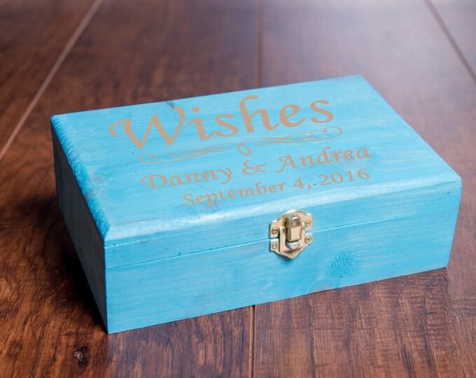 Wedding Wishes Box Guest Book with wood hearts, Guestbook Alternative, Bride Groom Wish Box, Bridal Shower Wish Box, Memory Keepsake MB1