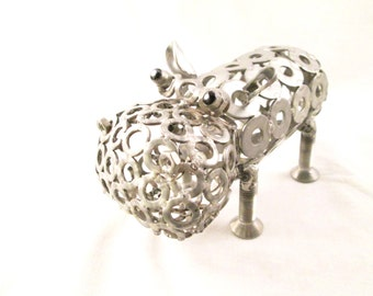 fantasy  steel sculpture Christmas gift Hippo steel Hippo sculpture Hippo Art metal Sculpture metal Gift Hippo Recycling Hippo statue