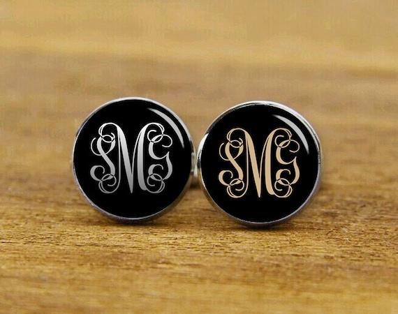 monogram cufflinks, custom monogram initial cufflinks, custom weddding cufflinks, tie tacks, groomsman, groom cufflinks, Wedding gifts
