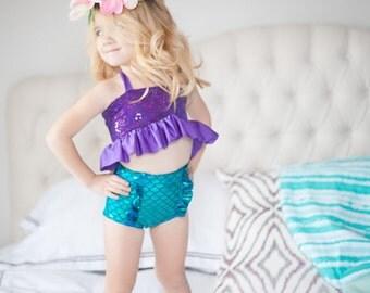 Little Mermaid Ariel inspired sequin ruffle bikini swimsuit - Made to Order