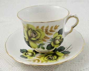Vintage Queen Anne Tea Cup and Saucer with Yellow Roses, Bone China