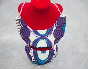 collana a colletto doppio in stoffa africana / Necklace  Double Collar in African Fabric