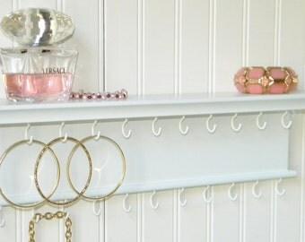 """18"""" Hardwood Necklace Bracelet Holder Jewelry Organizer Wall Mounted Brilliant White Handmade"""