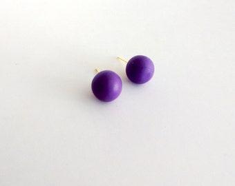 Purple Stud Earrings, Ball Stud Earring, Purple Posts, Purple Wedding, Bridesmaid Earring, Simple Stud, Bridal Party, Violet Earrings, Gift