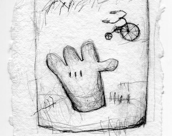 "Original Pencil and Ink Drawing: ""Like a Glove"" 4.5 x 6"""