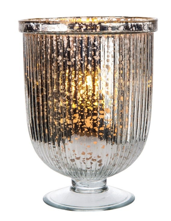 Large silver mercury glass fluted hurricane candle by