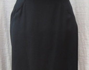 Vintage 1960s Black Crepe Spaghetti Strap Dress With MARIBOU at the bottom DRS080