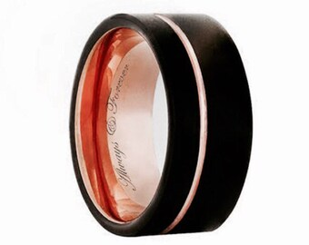 black rose gold tungsten promise ring mens rose gold wedding band engagement rings