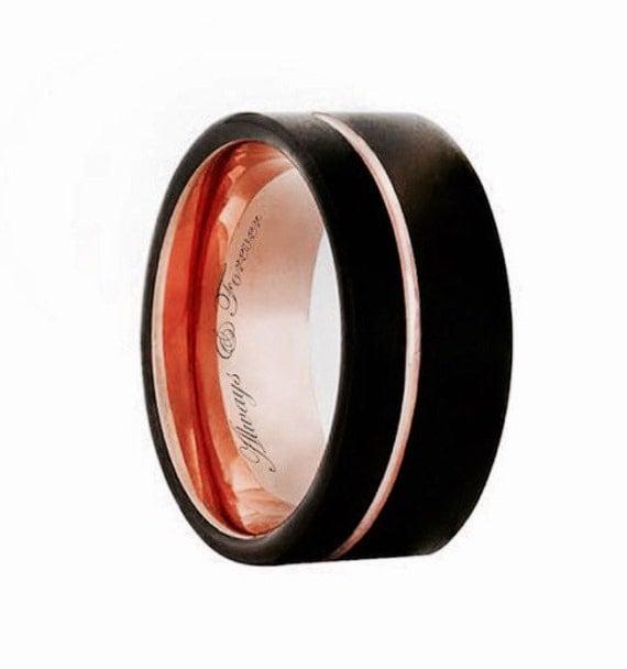 Black Rose Gold Tungsten Promise Ring Mens Wedding