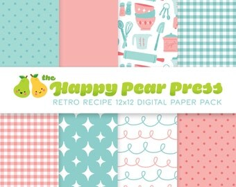 Retro Recipe Cooking Digital Paper Pack (Pink) Instant Download - Patterned Backgrounds for Scrapbooking and Paper Crafts