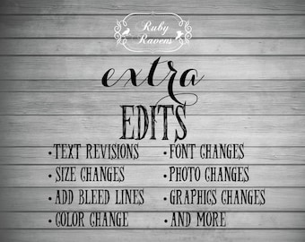 Extra Editing, Revisions, & Changes to digital files