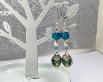Earrings, turquoise, butterfly ref 758 cabochon