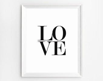 Love Art Prints, Love Wall Art Prints, Love Poster, Typography Art, Black and white Printable Quote Prints, Nursery Wall Art