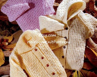 Boys Girls Easy Knit Jackets and Sweater, 22-34'', Chunky Knitting Pattern, Chunky Childrens' Knitting Pattern Instant download PDF - 194