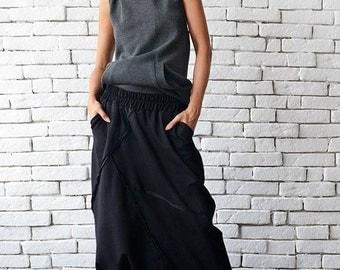 Extravagant Black Pants/Loose Casual Pants/Comfortable Drop Crotch Pants/Oversize Harem Pants/Wide Leg Hippie Pants/Long Black Trousers