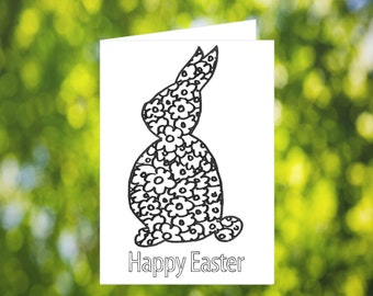 Coloring Easter Card: Flowers - Happy Easter Greeting Card - Cute Easter Card - Printable - Download - Rabbit - Bunny - Coloring Card
