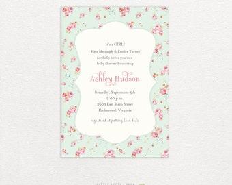 Baby Shower Invitations- Shabby Baby- Girl- printed or digital
