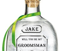 Will You Be My Groomsman, Bridesmaid, Patron Bottle, Invitation Card. Best Man, Matron Of Honor, Invitation Card.  Personalized.