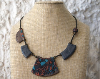 Necklace,  hand made,  polymer clay, mokume gane, mica shift technic, rubber cord, brass beads
