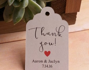 25 Thank you Tags, Custom Thank you Tags, Thank you Favor Tags, Bridal Shower Favor Thank You Tags