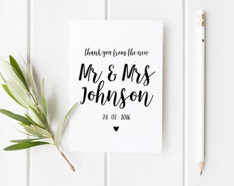 New Mr And Mrs Card, Personalised Thank You Wedding Card, Pretty Wedding Card, From The New Mr & Mrs, Wedding Guest Card, Wedding Date Card