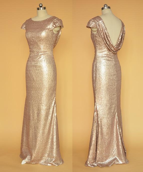 Sequin champagne bridesmaid dresses photo