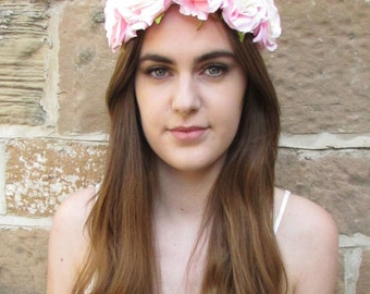 Light Pink Cream Rose Flower Hair Crown Headband Vintage Boho Garland Ombre T61