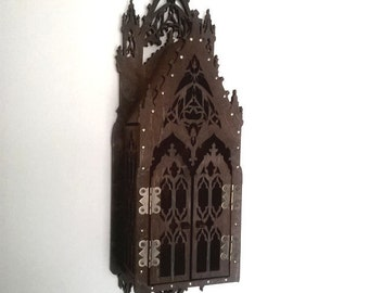 Gothic secret locked, medieval stylization, lamp inspired medieval cathedral