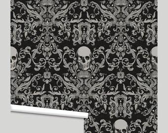 Macabre Skull Damask Peel 'n Stick Wallpaper Custom Lengths to 15 feet