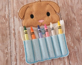 Puppy gift for kids - puppy party favor - crafts for kids - travel activity for kids - arts and crafts for kids -crayon roll - crayon holder