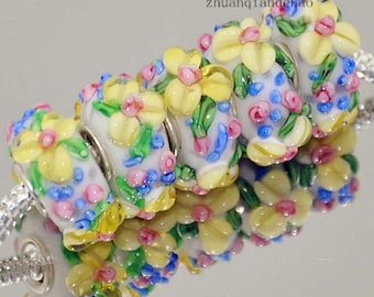 1pc Floral Murano Glass Bead