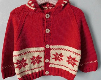 Red and white Cardigan with snowflakes and Cap for children of 2 years