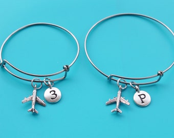 AIRPLANE adjustable Bangle,Initial or Number,airplane,pilot,flight attendant,plane,travel,stewardess,airline,flight,fly,aviation,19