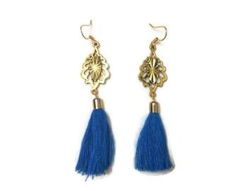 Blue Tassel Earrings, Blue Earrings, Long Tassel Earrings, Long Earrings, Tassel Earrings, Boho Earrings, Boho Gold Earrings, Gold Earrings