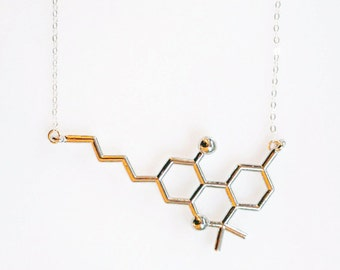 THC Molecule Necklace, Marijuana Necklace, Silver or Gold Chemistry Jewelry, Chemistry Necklace, Geek Gifts, Biology Jewelry