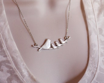Silver Sparrow Family Bird Necklace, Birds on a Branch Necklace, Silver Family Bird, Nature Jewelry, Family Gifts