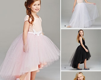 Girls Tulle Skirts. Size 3-6 and 7-14. Simplicity 1122. Pattern is new and uncut.