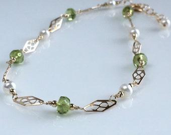 Delicate Gold Ankle Bracelet, Gold Ankle Bracelet, Peridot August Birthstone, Wedding Anklet, Gift for Her