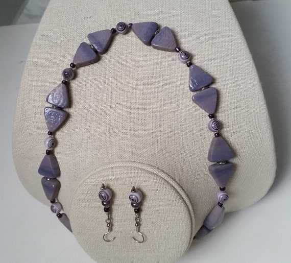 PURPLE NECKLACE & EARRING Set with Flat Triangle Glass Beads, Bullseye Spirals. Geometric. Lilac-Plum-Grape-Violet-Silver-White.