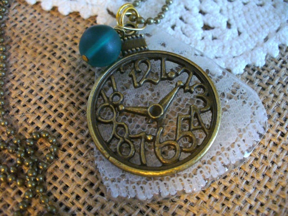Lace Captured in Time Necklace, Vintage Lace Sealed in Resin Pendant, Clock Pendant, Bead Chain, Lace Necklace, MarjorieMae