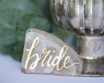 Hand-lettered Sea Glass Place Cards | Custom Name Cards for Wedding or Event | Modern Calligraphy