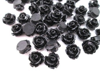 Black 10mm rose cabochons, cute flower cabs