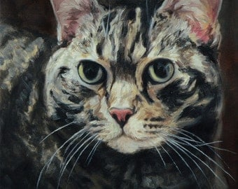 Custom Cat portrait, Pet portrait, Cat Painting - oil painting on stretched canvas, your photographs ***Lowest price is 50% DEPOSIT price***