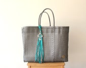 Silver Mexican Bag, Handmade Mexican bag, Picnic Basket, Beach Bag,  Picnic Bag, Weekend Bag, Mexican Gift, Woven Bag, Mexican Tote