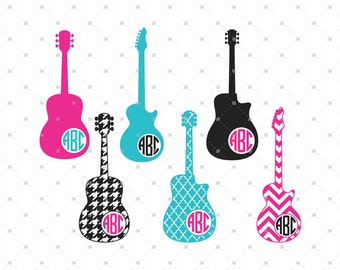 Guitar SVG cut files, Monogram Frames svg cut files, cut files for Cricut, cut files for Silhouette, svg files