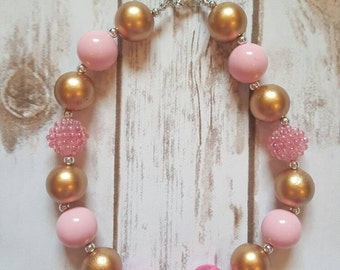 Girl Necklace, Baby Necklace, Pink and Gold, Chunky Necklace, Bubblegum Necklace, Pink Necklace, Girls Necklace, Birthday Gift Idea