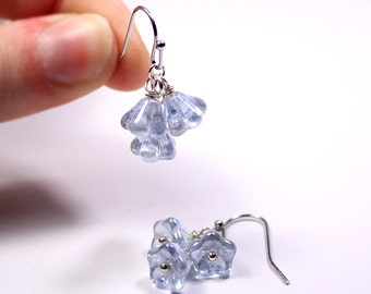 gift for her blue earrings flower jewelry gift for girlfriend drop earrings sky jewelry daughter gift best mom gift moonstone earrings пя76